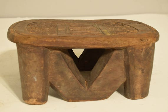 African Senufo Carved Wood Stool Cote d'Ivoire Heirlooms Ancestor Wood Stool