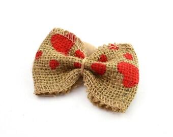 Hearts printed burlap bow