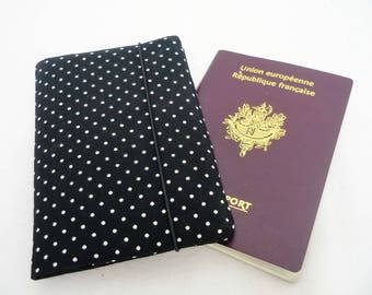 Passport black polka dot, fabric Passport case, passport woman