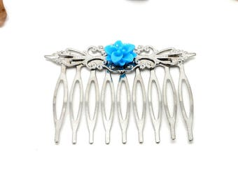 Silver jewelry charms and cie blue flower hair clip