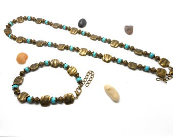 Set necklace bracelet ethnic bronze and turquoise charms and co.