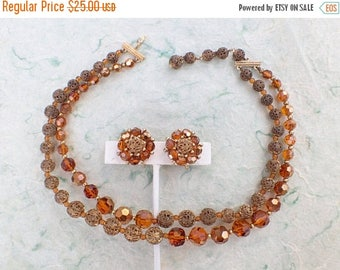 Half off Signed Marvella necklace and earring set amber colored crystal gold tone filigree beads AB701