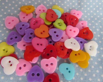 Assorted Heart Shaped Buttons
