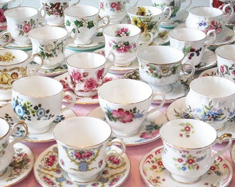 Tea Party Set, Mismatched Tea Cups, Vintage Teacups, Mix and Match, Bridal Shower China, 10 USD each, Job Lot Tea Cup