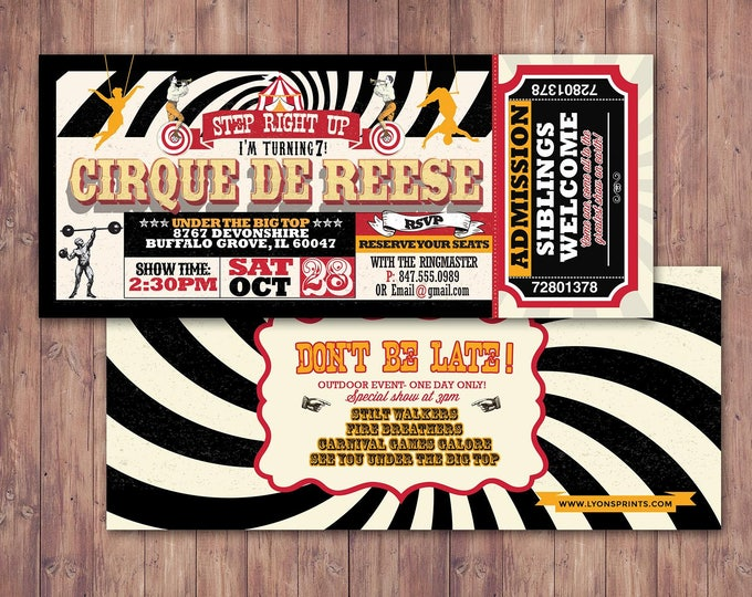Birthday- circus ticket-carnival ticket invitation - vintage circus, retro, ticket invitation, carnival, circus birthday invitation, first