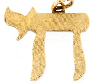 Judaic Chai Charm 14kt Yellow Gold