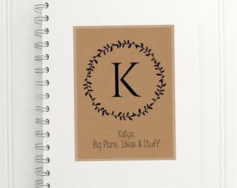Laurel Leaf Personalized Notebook with initial and personalised message, A5 journal, wire bound, handmade