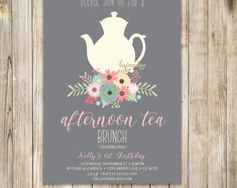Rustic AFTERNOON TEA BRUNCH Invitation, Birthday Tea Party Invite, English High Tea Invites, Floral Invite, Birthday High Tea, Shabby Chic