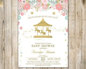 CAROUSEL BABY SHOWER Invitation, Gold Pink Baby Sprinkle Invite, Floral Carousel Baby Girl Shower Invites, Fairground Shower, Horse Invites