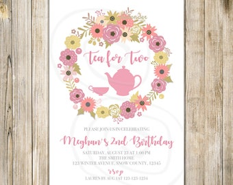 Floral TEA FOR TWO Invite, Tea for 2 Invitation, 2nd Birthday, Birthday Tea Party, Girl 2nd Birthday, Floral Wreath, Pink Gold Floral Invite