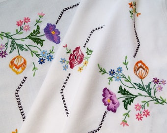 Vintage Square Tablecloth. Large White Tablecloth, Hand Embroidered Tulips and Poppies in Beautiful Colours. Perfect For A Vintage Tea Party