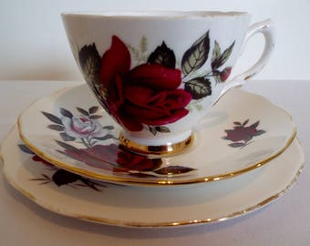 Vintage Mismatched Tea Cup and Saucer with Red and White Roses. Red Roses Colclough Teacup and Cake Plate Trio. Great For A Tea Party