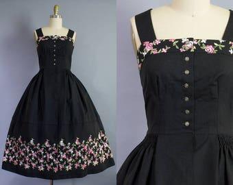 1950s Black Cotton Sundress   Medium (35B/28W)
