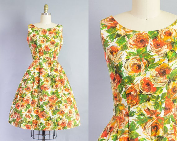 1950s Painterly Rose Floral Cotton Dress   Small (34B/25W)