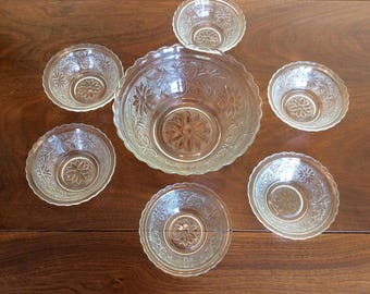 Pressed Glass Vintage Berry Set with 6 Bowls