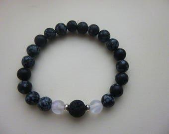 Snowflake obsidian/clear quartz/lava rock bracelet/essential oil diffuser bracelet.