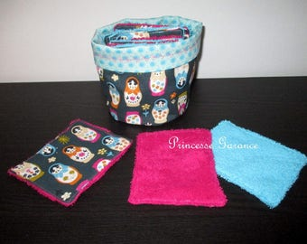 12 wipes washable, cotton, Terry cloth and matching purse matriochkas - baby or MOM