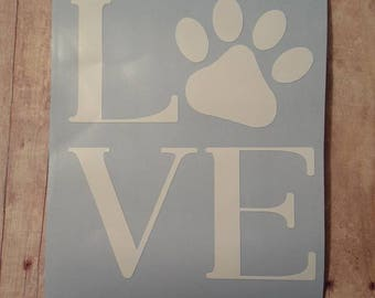 Dog Love Vinyl Decal || Puppy Paw Decal || Puppy Love || Love Paw Print Decal