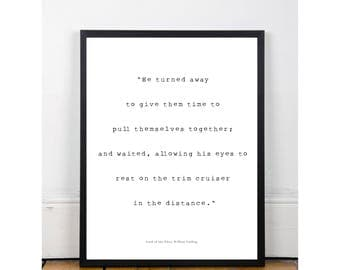 Lord of the Flies, William Golding // Book quote poster // black & white // Type writer quote // Gift for readers