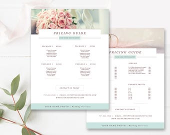 Photography Price Sheet, Wedding Photography Pricing List Template, INSTANT DOWNLOAD