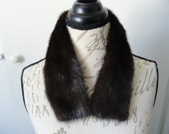 Rich Dark Brown Mink Fur Collar