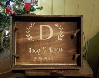 Personalized Initial, Name and Date Decorative Serving Tray - Decorative Tray - Home Decor - Wedding Gift - Anniversary Gift - Great Gift