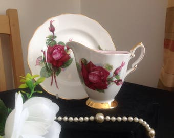 Royal Standard Wheatcroft roses .Grand Gala. Tea plate and cream jug