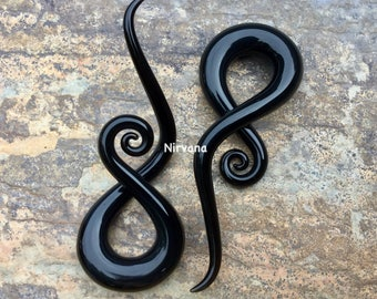 "Solid Black Music Notes 10g 8g 6g 4g 2g 0g 00g 7/16"" 1/2"" 9/16"" 5/8""  2.5 mm 3 mm 4 mm 5 mm 6 mm 8 mm 10 mm - 16 mm"