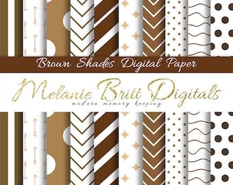 BROWN SHADES paper, digital paper pack, brown and white, scrapbook papers, arrow, polka dot, stripe, chevron, geometric, printable paper pdf