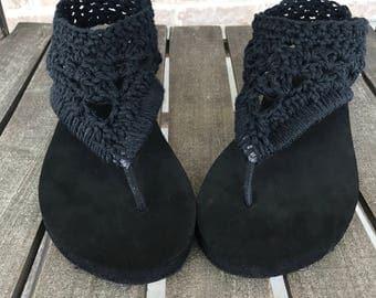 Gladiater sandals, crochet flip flops, short gladiater sandals, black sandals, crochet sandals, womens sandals