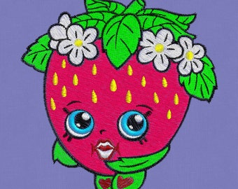 "Embroidery design shopkins strawberry kid 4x4"""