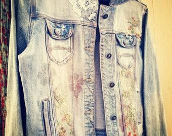 Upcycled 1990s  boho denim jacket