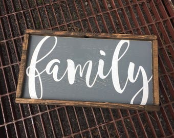 Framed Rustic Family Sign - Rustic Wooden Sign - Family Sign - Gallery Wall - Rustic Decor - Wooden Sign - Distressed Sign - Farmhouse Decor