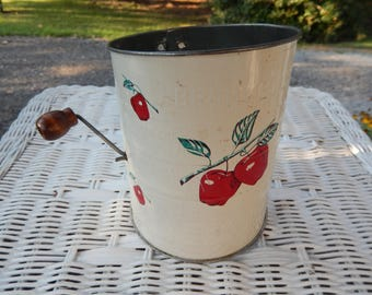 Bromwell's Measuring Sifter White with Red Apples, Vintage Metal Flour Sifter, 3 cups, Made in U.S.A