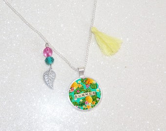 Tropical pineapple tassel necklace long silver plated cabochon Summer flowers beads