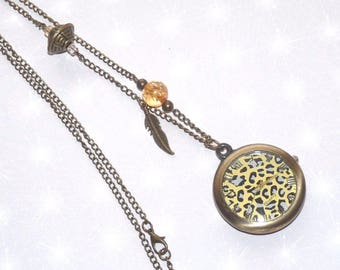 Necklace Pocket Watch bottom leopard with assorted beads and feather