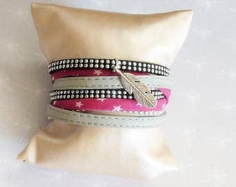 Leather Bracelet double turn, grey leather claircordon liberty fuschia star rhinestone Black Suede and silver feather