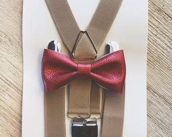 Cranberry & Beige Bow Tie Suspenders Ring Bearer Outfit Wedding Suspenders Baby Suspenders Boys Suspenders Baby Braces