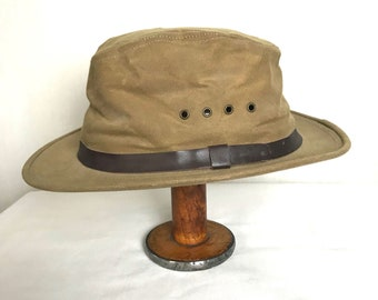 Vintage FILSON Tin Cloth Packer Hat ~ size M ~ #15 ~ Waxed Canvas ~ Hunting / Fishing / Camping / Outdoor ~ Bucket