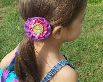 6 Yo-Yo Barrettes with Vintage Easter Picture Centers -  Clip on Easily - NEW!