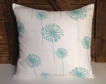 turquoise dandelion pillow cover