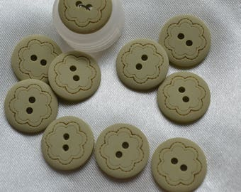 set of 10 round buttons, green amnde 18mm