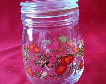Christmas in July Sale Vintage Glass Canister/Jar with Lid, Made in France, 3/4 Liter