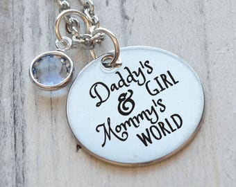 Daughter Daddys Girl Mommys World Personalized Engraved Necklace
