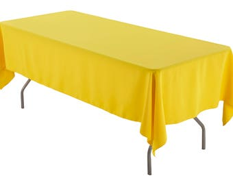 60 X 102 Inch Rectangular Yellow Tablecloth Polyester   Wedding Tablecloth