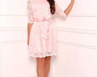 Pastel Pink Lace Mini Women's Dress Round Neck 3/4 Sleeves