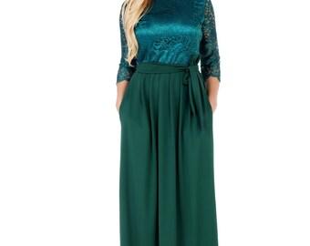 Dark Green Top Lace Elegant Women's Dress  Round Neckline 3/4 Sleeves Pockets