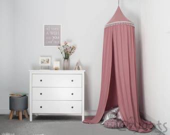 Canopy Dark Pink Tent Bed Crib Kids