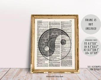 Yin Yang Print, Spiritual Art, Yin Yang Art, Yin Yang Decor, Zen Wall Art, Meditation Art, Dictionary Print, Geometric Art, Boho Art