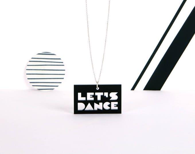 LET'S DANCE mini typographic black acrylic statement necklace